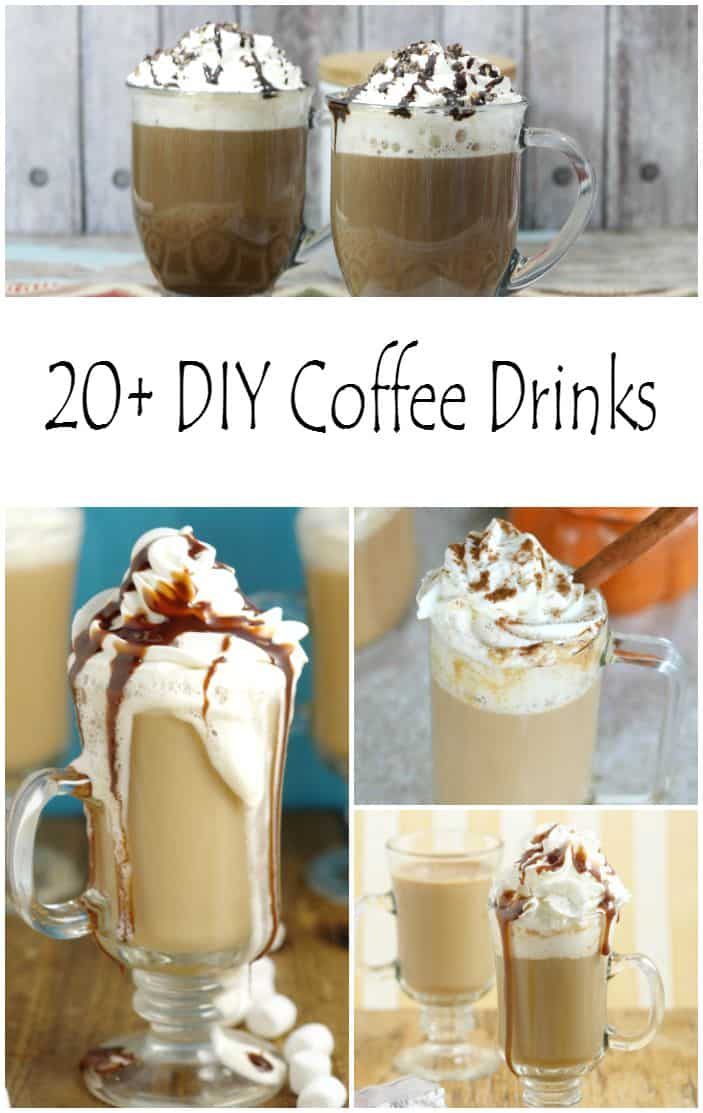 I've collected 20+ DIY Coffee Drink Recipes for you and me to save some money and still enjoy our favorite coffee drinks. You might even find a few new favorites.