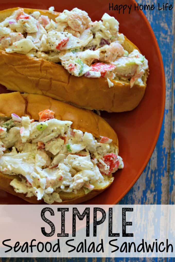 Simple Seafood Salad Sandwich -- DELICIOUS! - With crab season here this is the time of year to get fresh crab meat. This Simple Seafood Salad Sandwich is delicious and perfect for a healthy lunch!