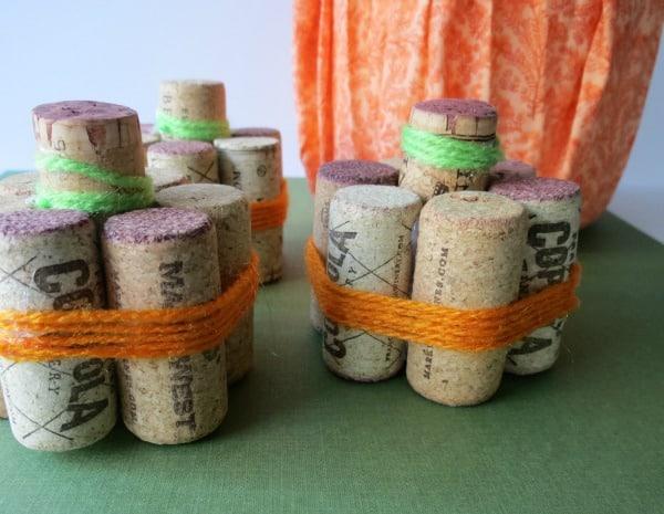 Fall Wine Cork Craft - Mini Pumpkins