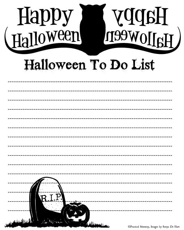 spooky halloween to list free printable