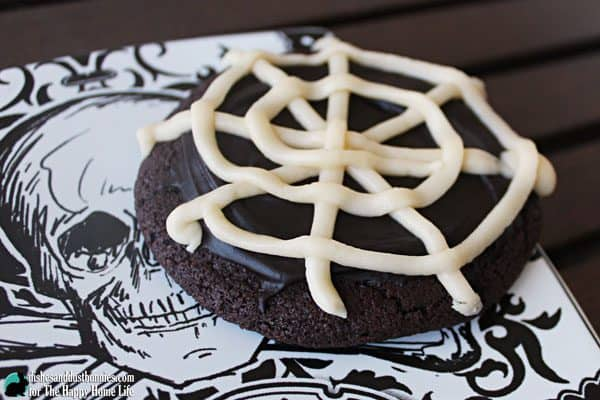 Try these Halloween Cookies! Chocolate Spider Web Cookies