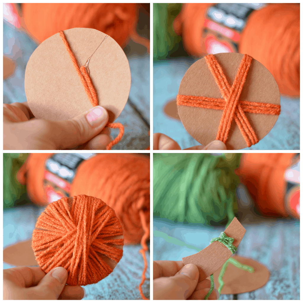 Home decor yarn wrapped pumpkins