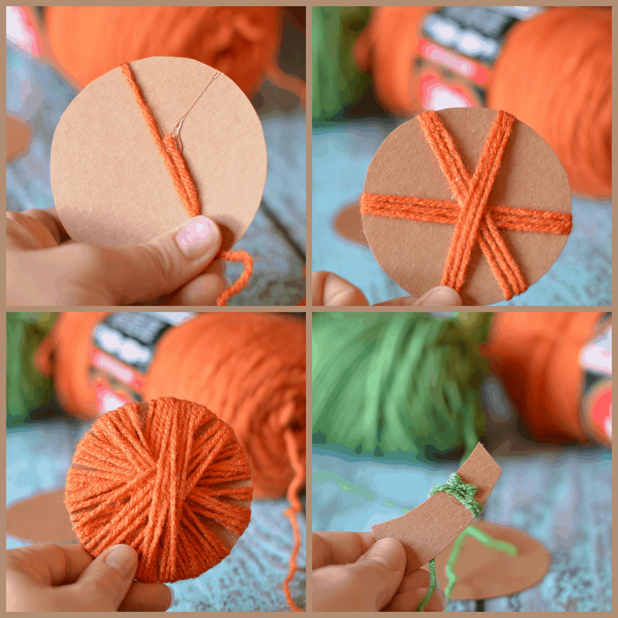 Fall Home Decor Yarn Wrapped Pumpkins