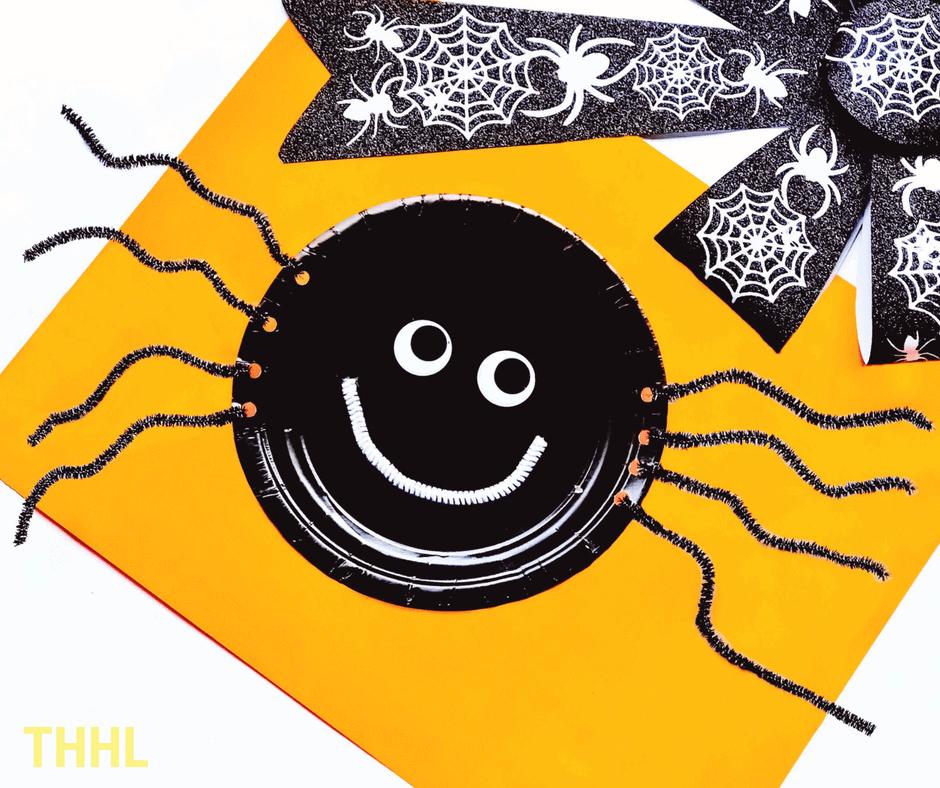Halloween Black Spider Paper Plate Craft