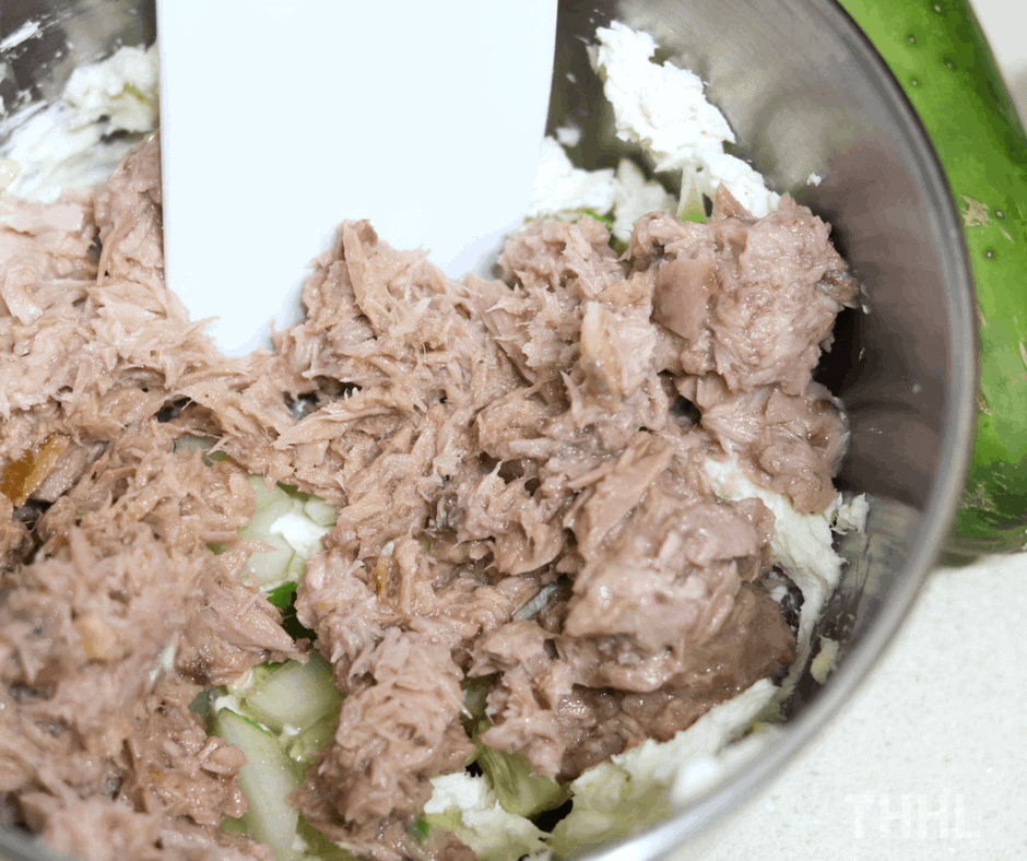 Mixing Tuna for Keto Tuna Melt Stuffed Tomatoes