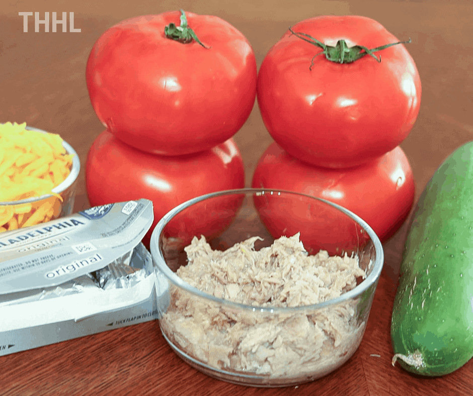 Ingredients for Keto Tuna Melt Stuffed Tomatoes