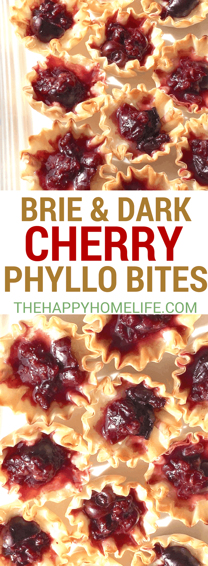 Need a super easy appetizer for your next holiday gathering? If so, you'll definitely want to give these bite-sized phyllo cups a try. The flavors of warm, melted Brie and sweet dark cherries are enhanced with a slight hint of maple syrup.