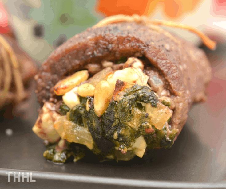 Keto Spinach, Feta and Pine Nut Stuffed Flank Steak