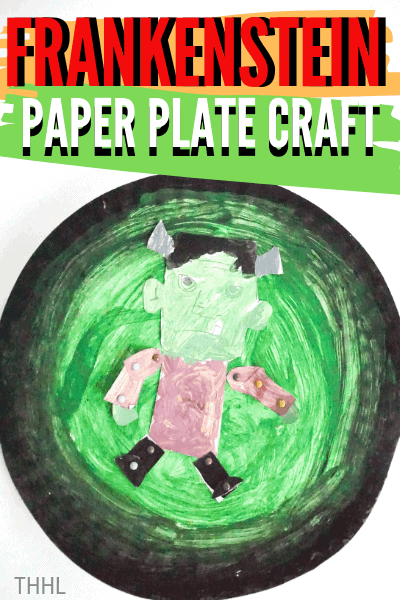 How to make Frankenstein Paper Plate Craft. A great kids paper craft for Halloween with a free Frankenstein pattern available to download.