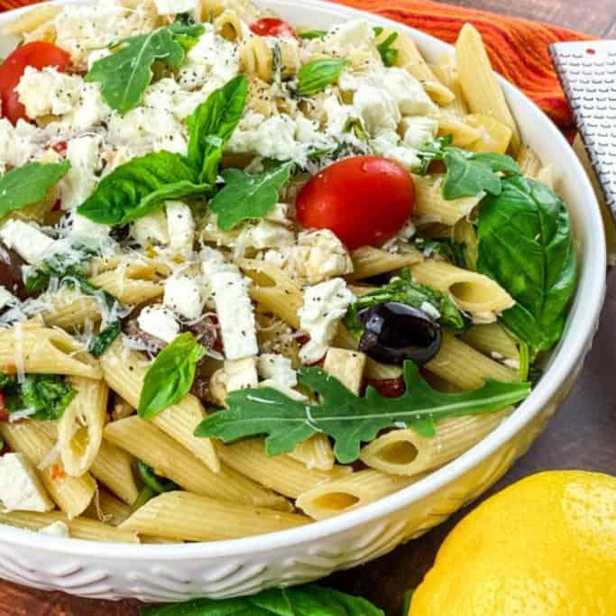 mediterranean pasta salad with arugula square image