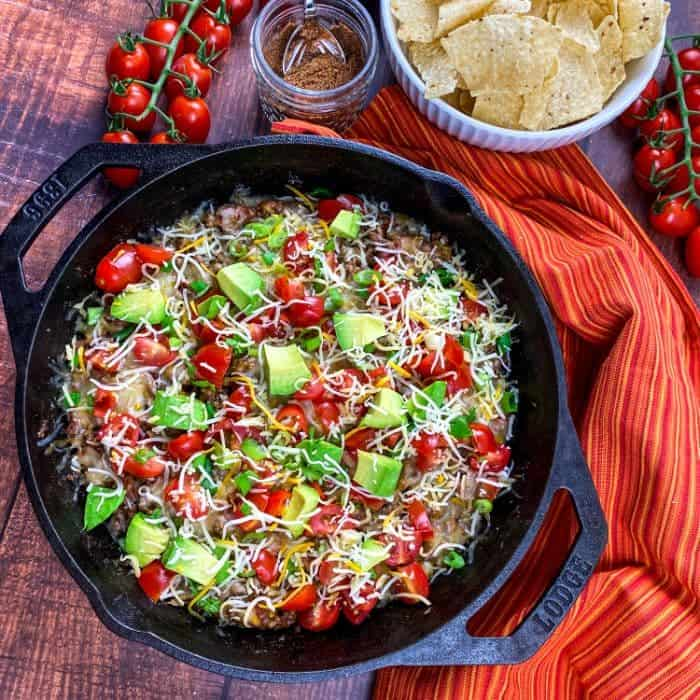 beef taco skillet in cast iron pan